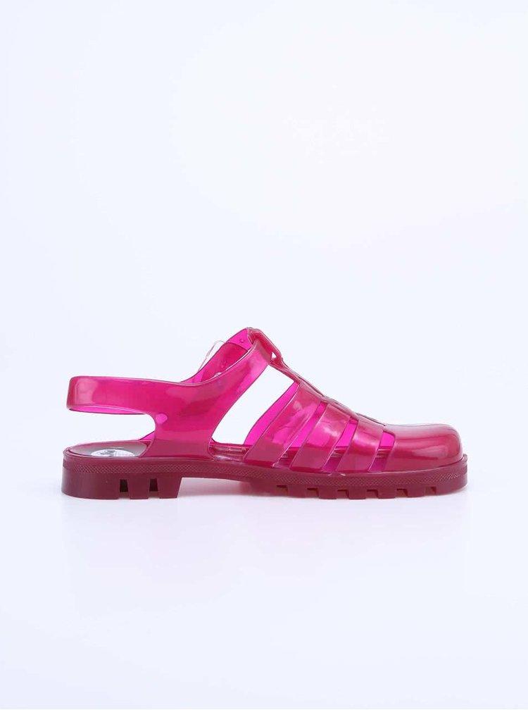 Ružové transparentné plastové sandálky JuJu Maxi