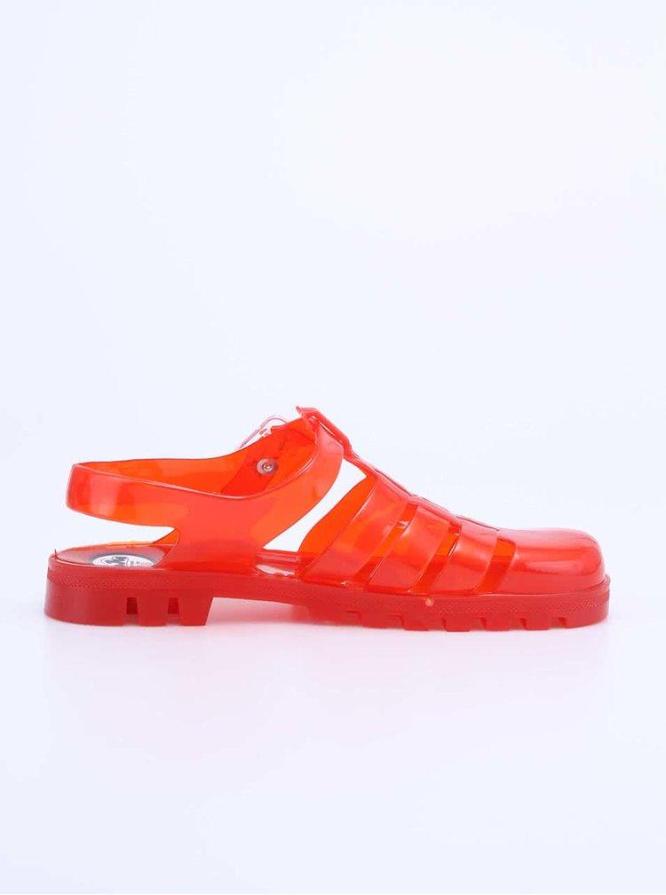 Červené transparentní plastové sandálky JuJu Maxi