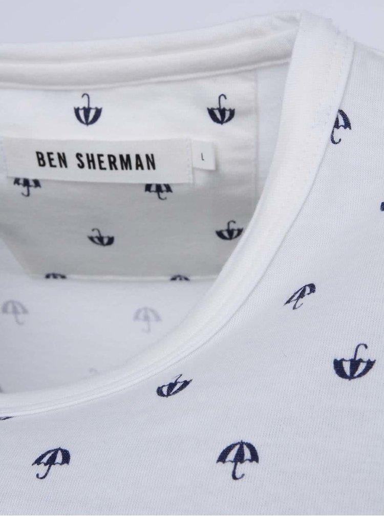 Tricou cu imprimeu cu umbrele Ben Sherman - crem