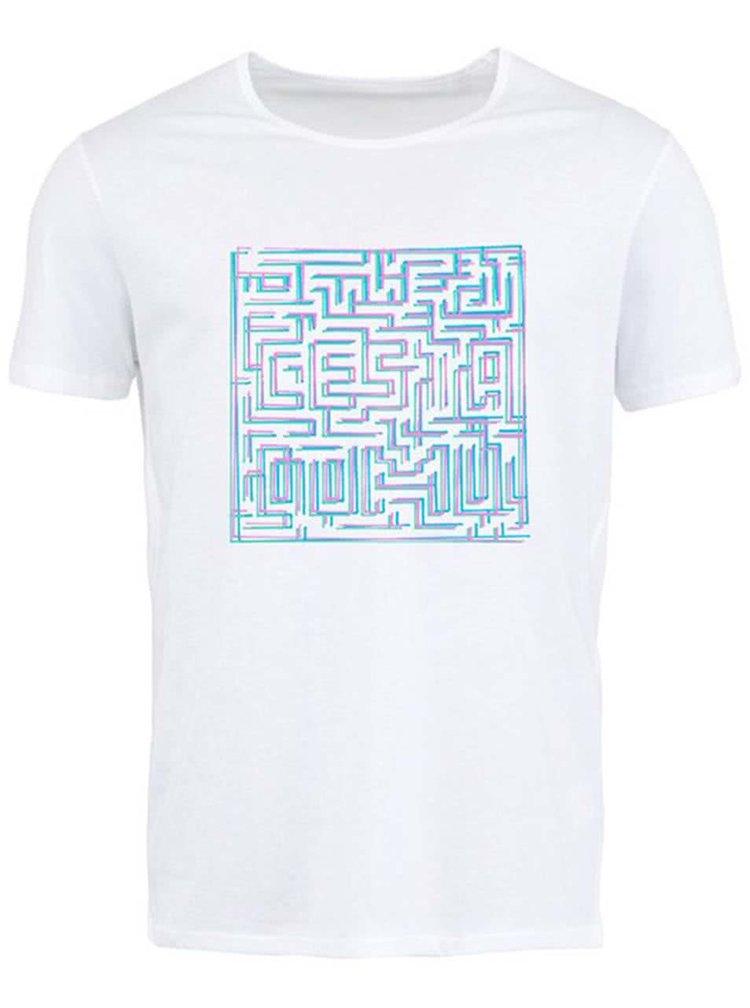 """""""Dobré"""" bílé pánské triko s bludištěm Cesta domů"""