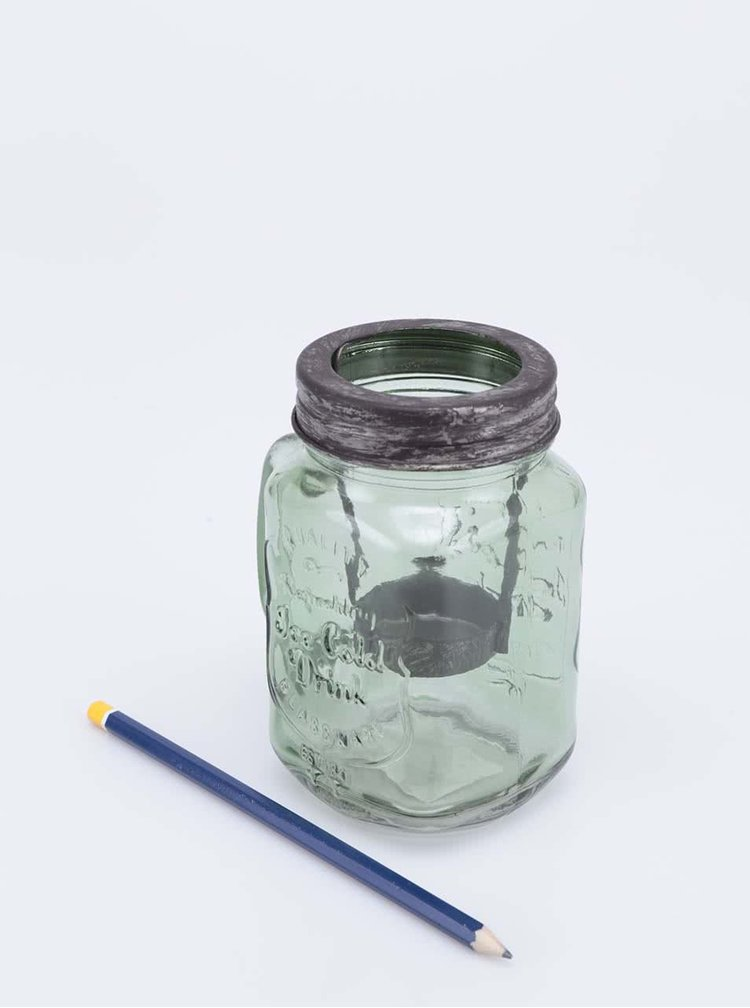 Suport pentru lumânare Dakls din sticlă verde