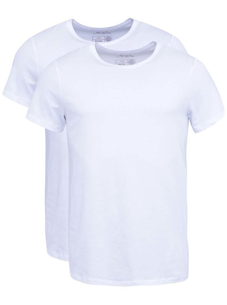 Sada dvou slim fit triček pod košili v bílé barvě Blend