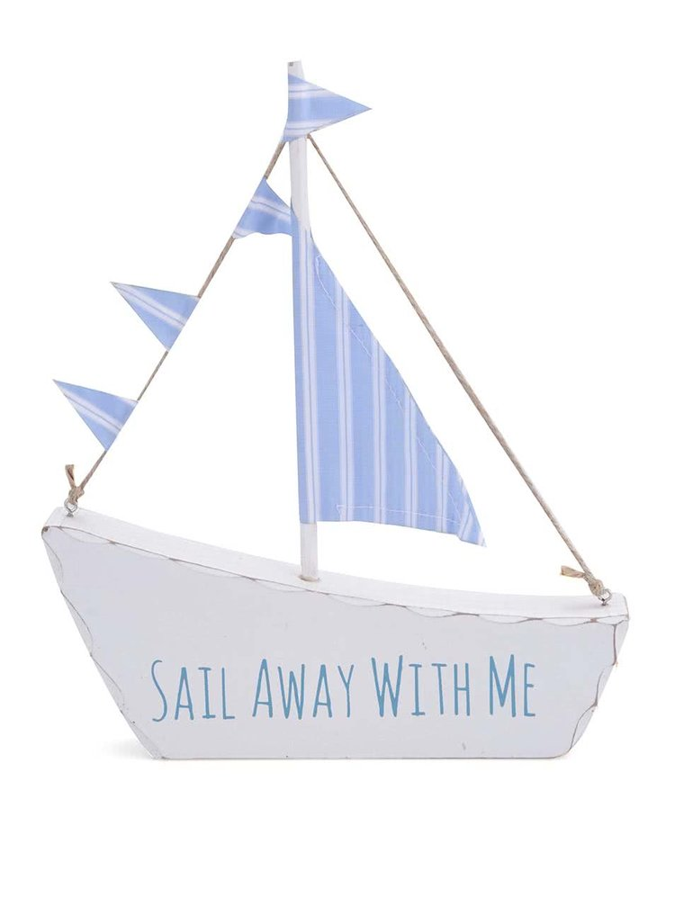 Bílá dřevěná plachetnice Sass & Belle Sail Away With Me