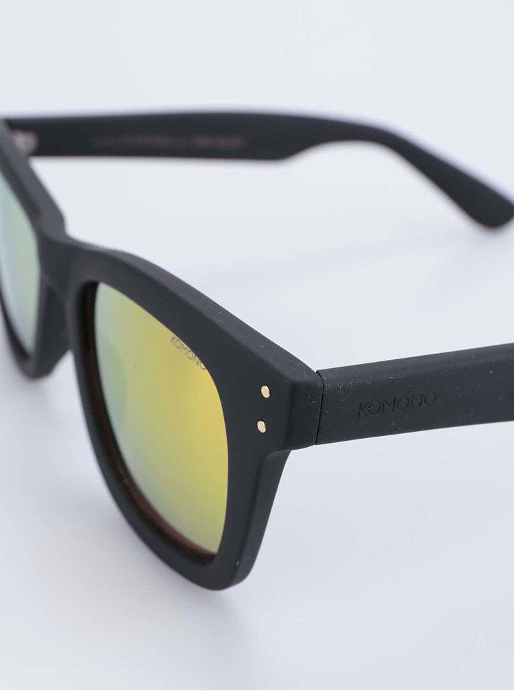 Ochelari de soare Allen de la Komono unisex negru cu galben polarizați