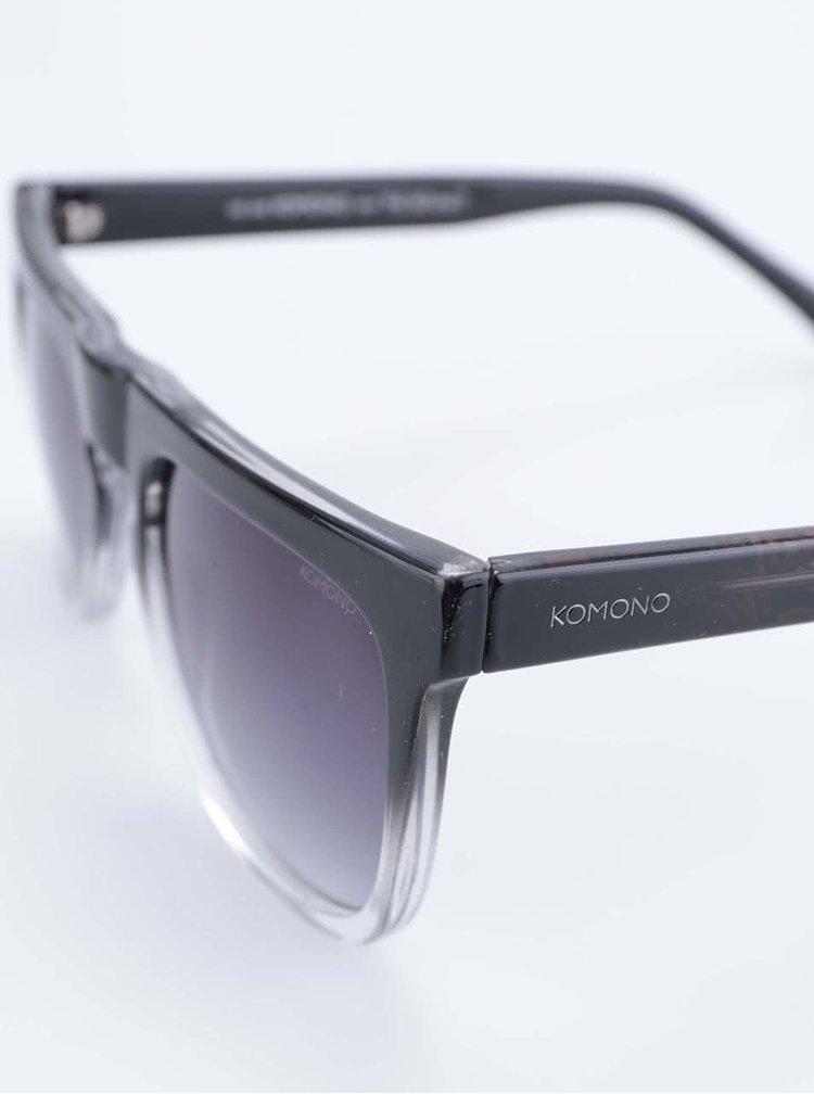 Šedo-černé unisex sluneční brýle Komono Bennet