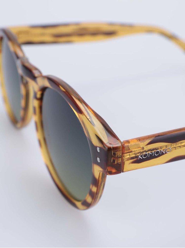 Ochelari de soare unisex, cu rama rotunda, maro cu galben, model Clement de la Komono