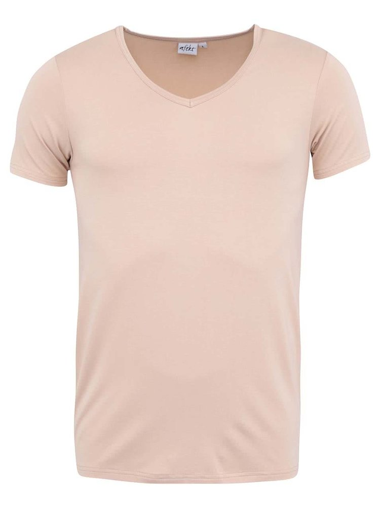 """Telové bambusové tričko pod košeľu s výstrihom do """"V"""" Bambutik Slim"""