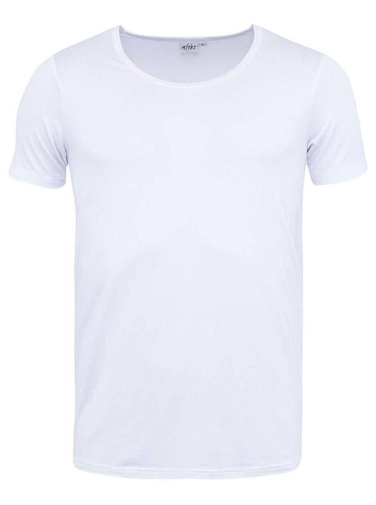 "Bílé bambusové triko pod košili s výstřihem do ""U"" Bambutik Slim"