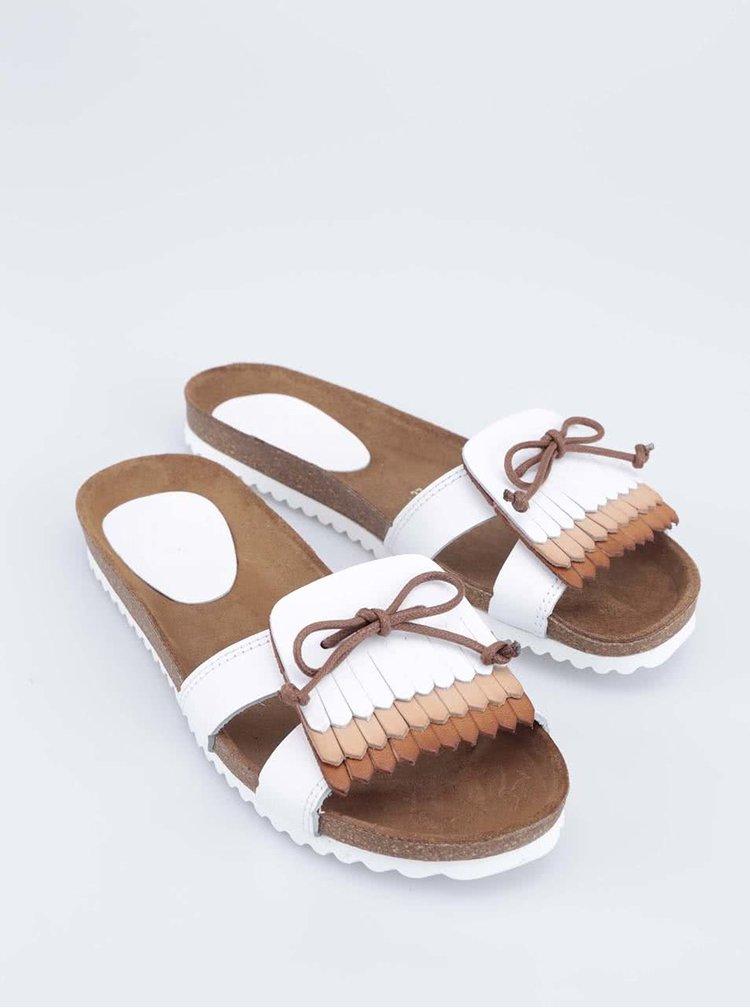 Bílé kožené pantofle s ozdobným páskem OJJU