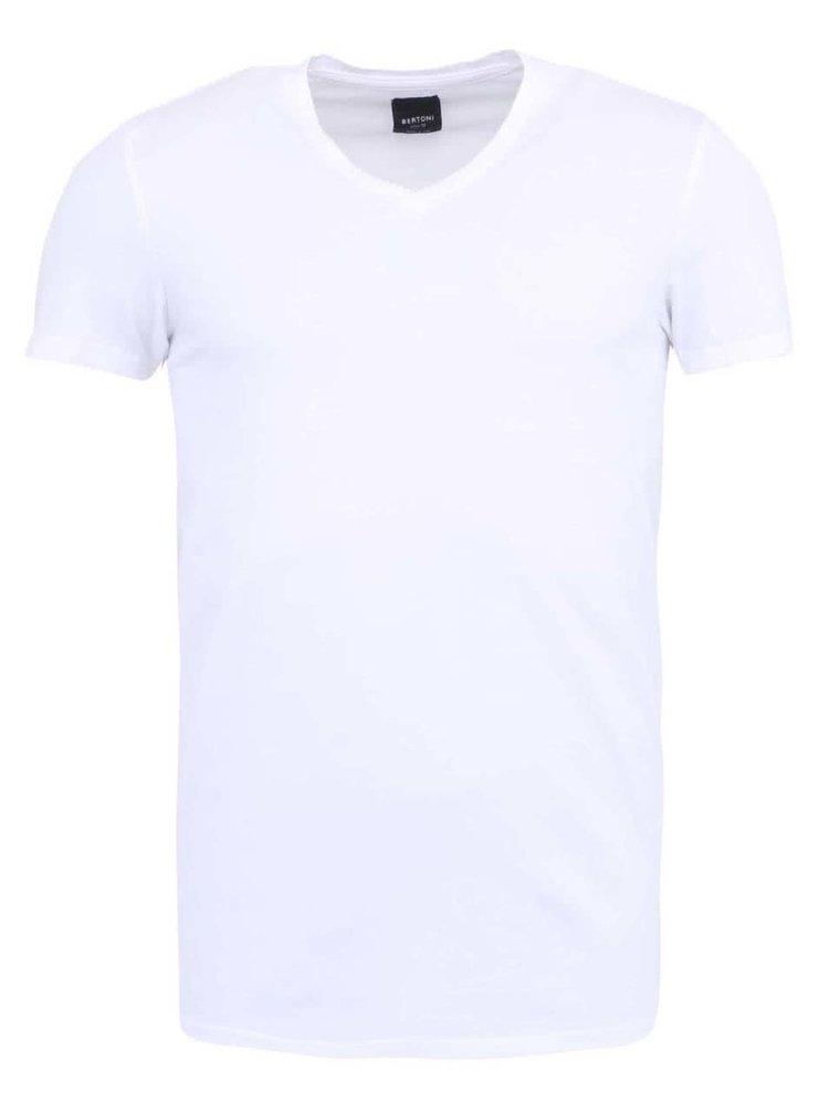 """Bílé triko s výstřihem do """"V"""" Bertoni"""