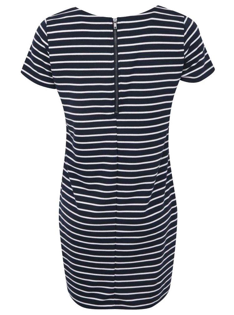 Bílo-modré pruhované šaty s krátkým rukávem VILA Tinny
