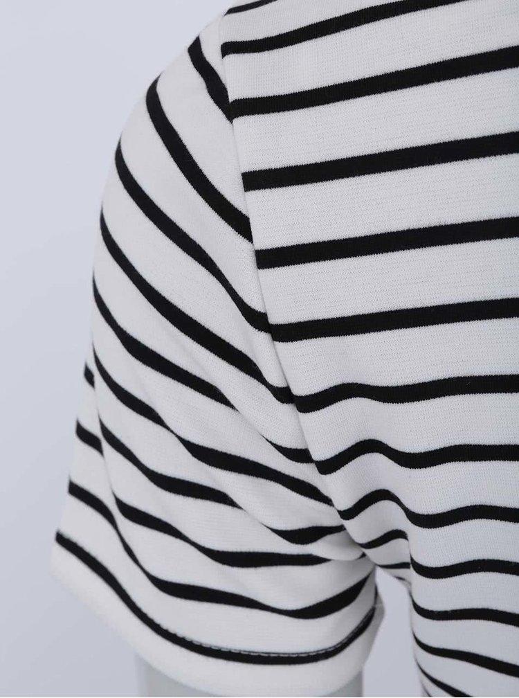 Čierno-biele prúžkované šaty s krátkym rukávom VILA Tinny