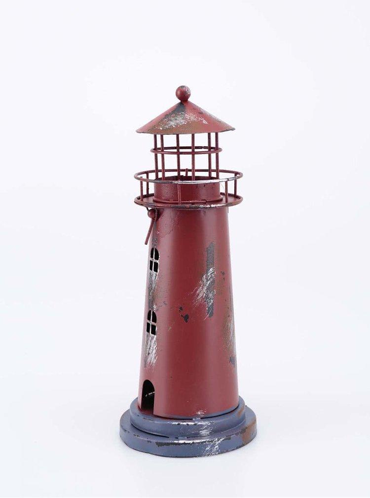 Červený kovový svícen ve tvaru majáku Dakls