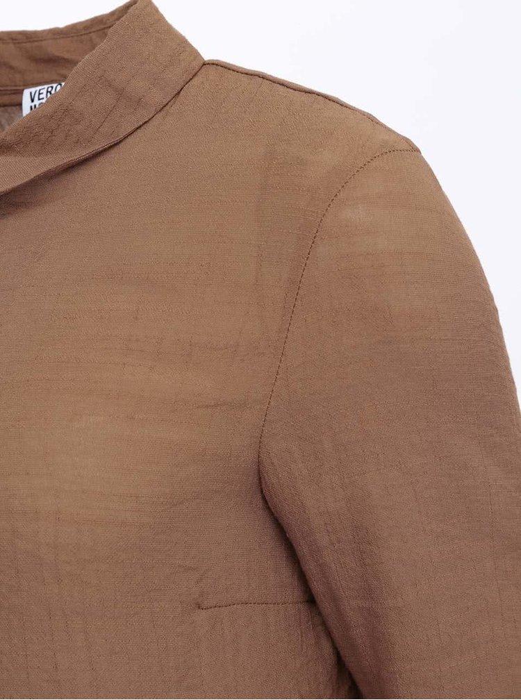 Hnedá dlhá košeľa VERO MODA Rule