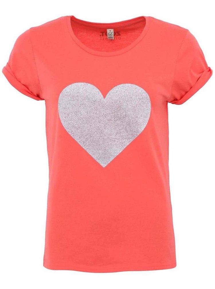 Korálové dámské tričko ZOOT Originál Stříbrné srdce