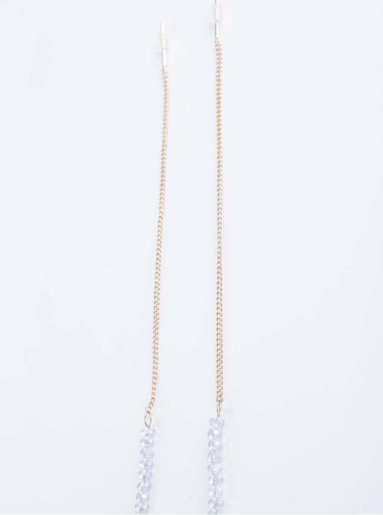 Dlouhé náušnice ve zlaté barvě s modrými korálky Orelia