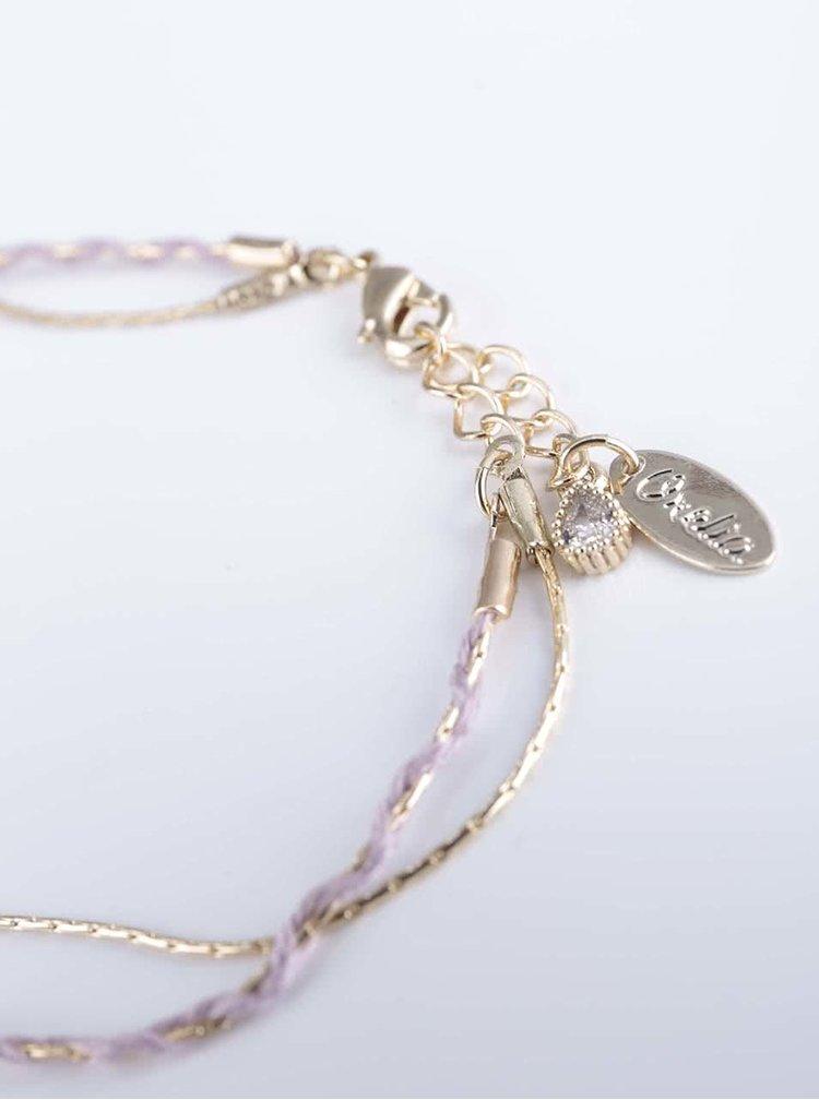 Fialovo-zlatý prepletaný náramok Orelia