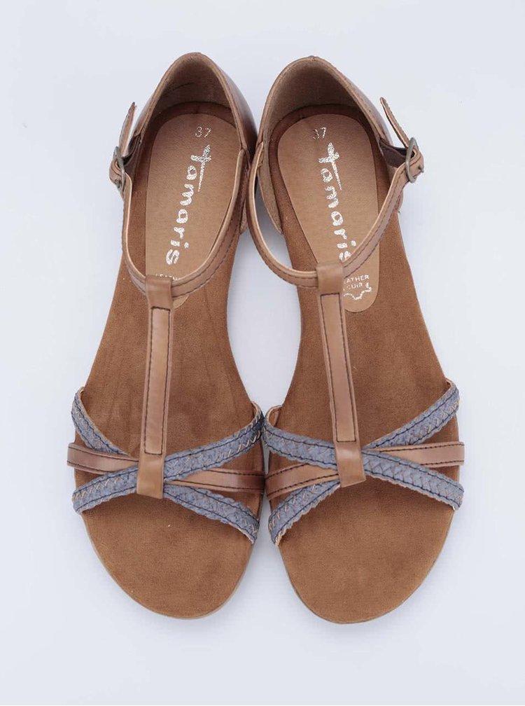 Hnedé kožené remienkové sandálky Tamaris