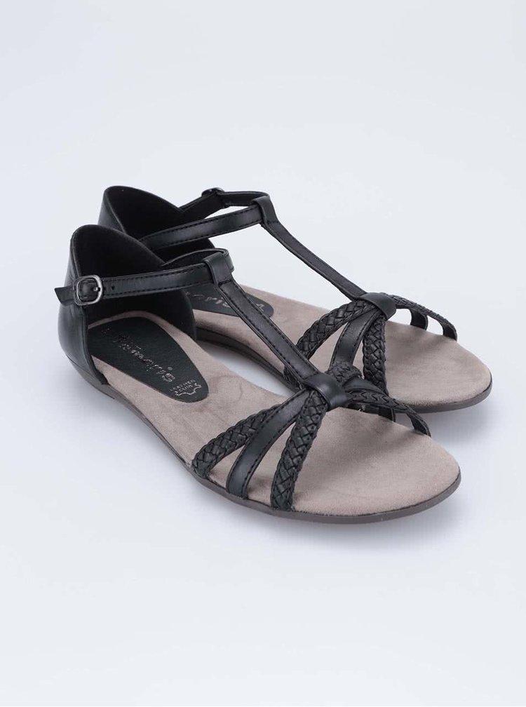 Čierne kožené remienkové sandálky Tamaris