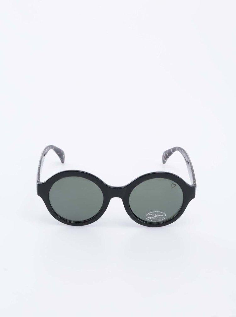 Čierne guľaté slnečné okuliare so vzorovanými nožičkami Ruby Rocks