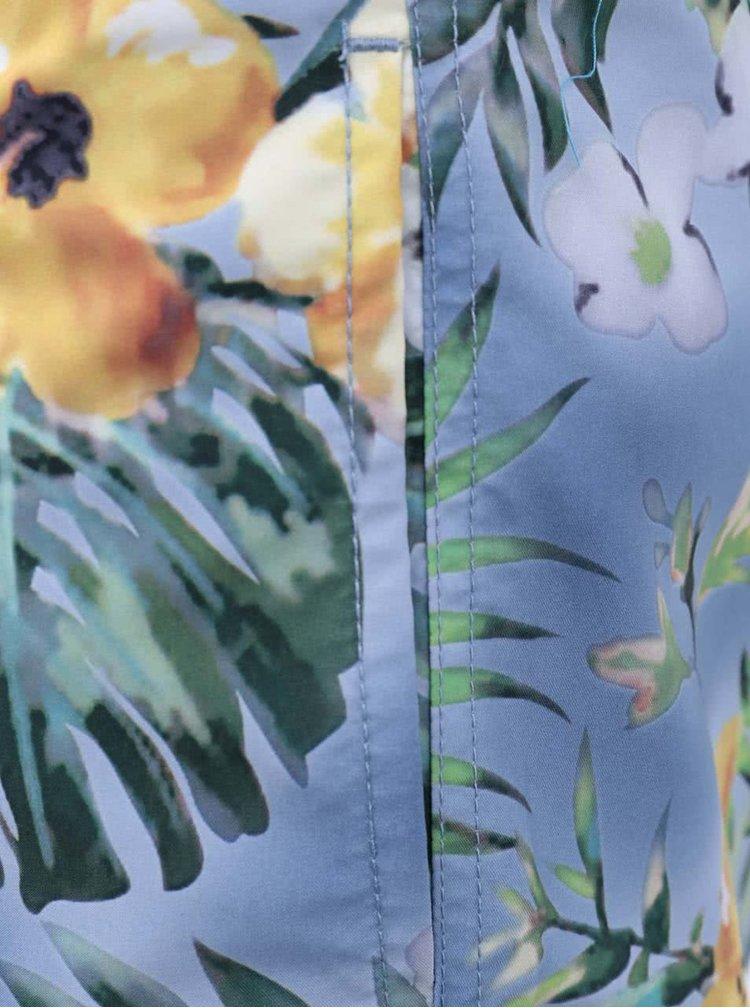 Șort de baie Blend lung cu flori Hawaii - albastru deschis