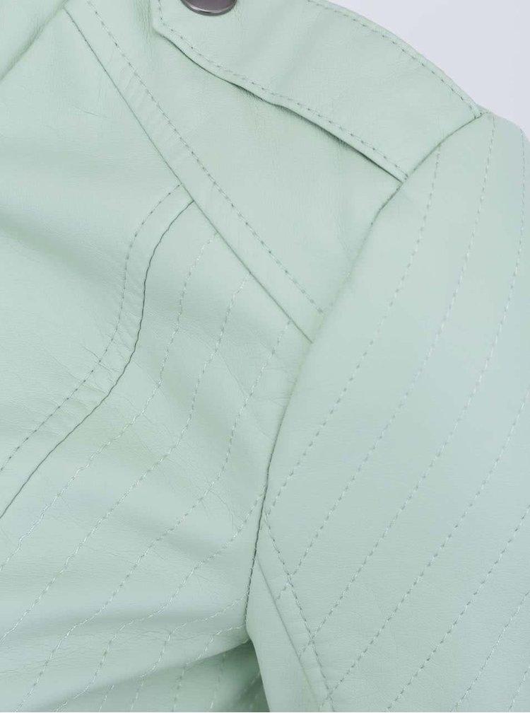 Světle zelená koženková bunda Noisy May Macy
