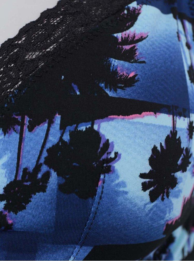 Modré dámske tielko so vzorom s čipkou 69SLAM