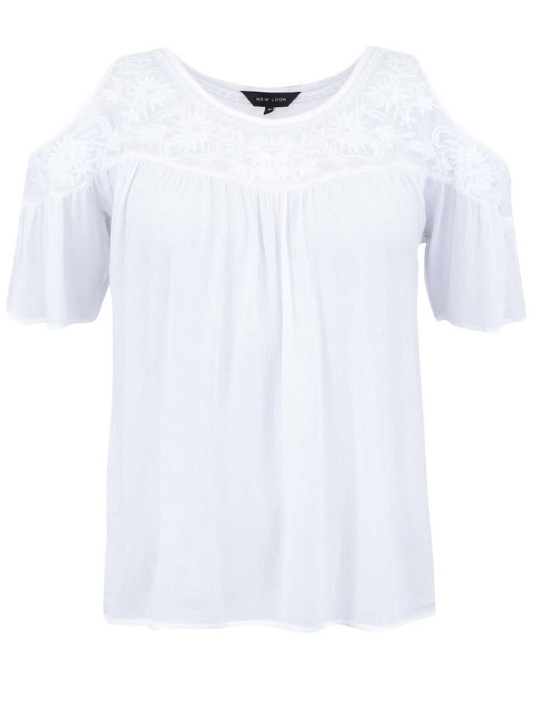 Bluză albă cu umerii decupați New Look