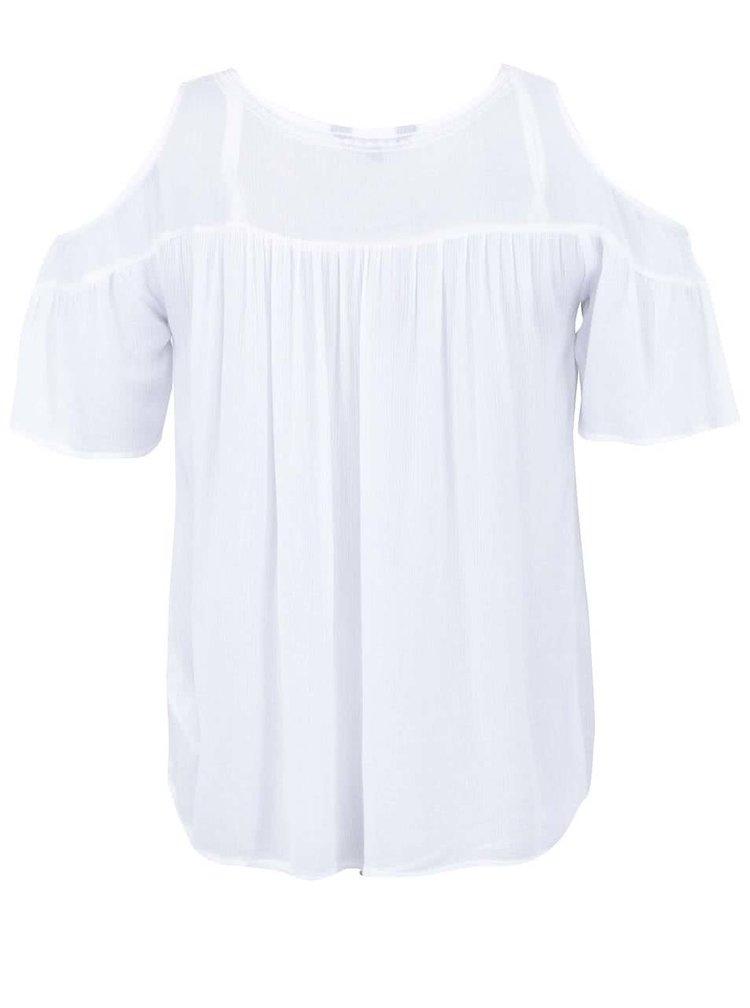 Biely top s prestrihmi na ramenách New Look