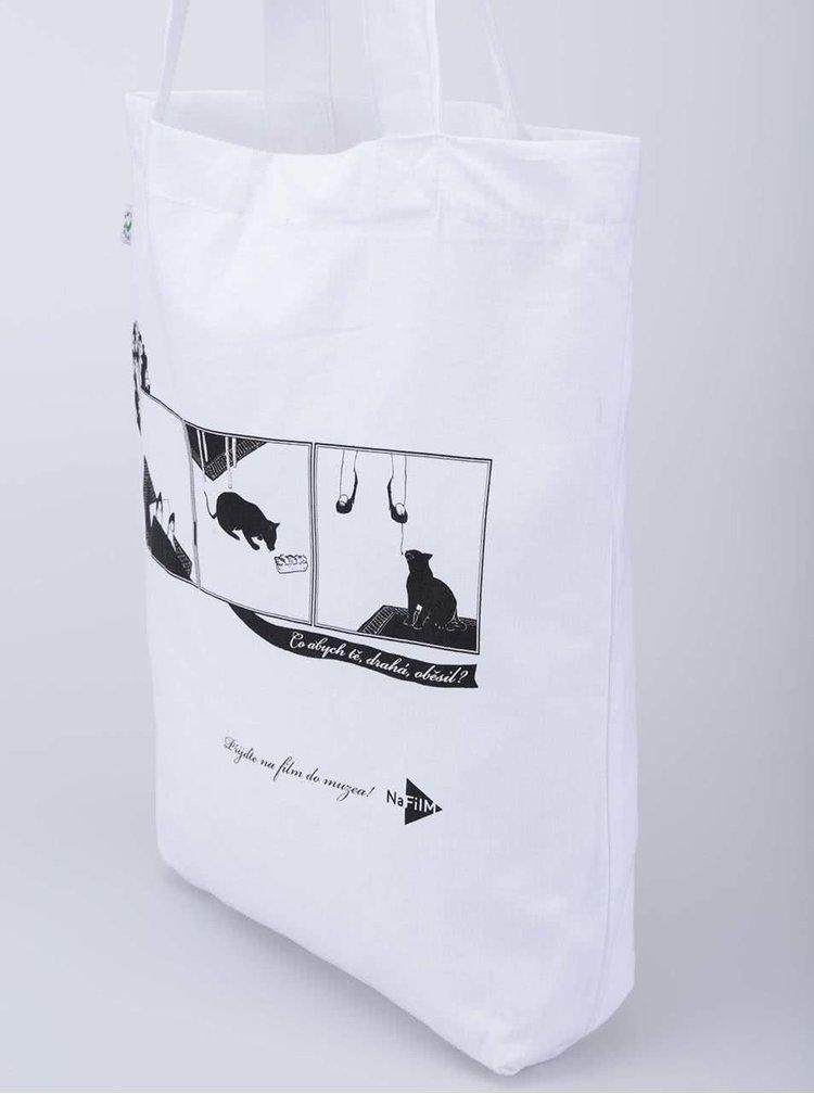 """Dobrá"" bílá plátěná taška pro NaFilM Spalovač"