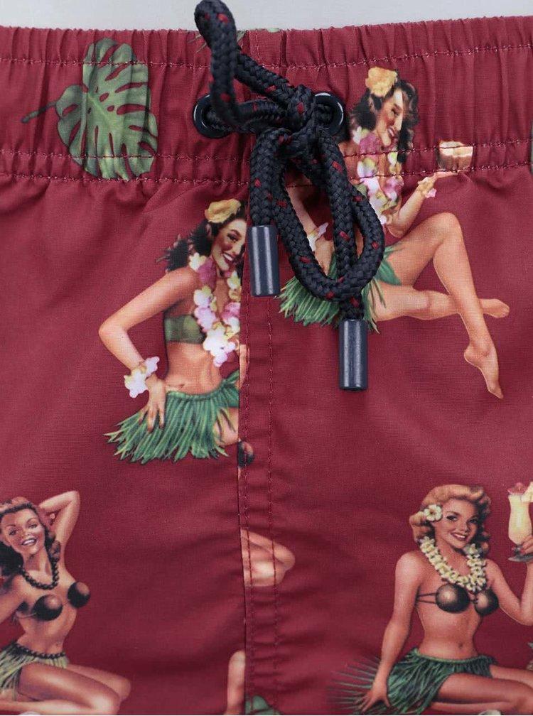 Vínové pánske plavky so vzorom Bellfield Kea