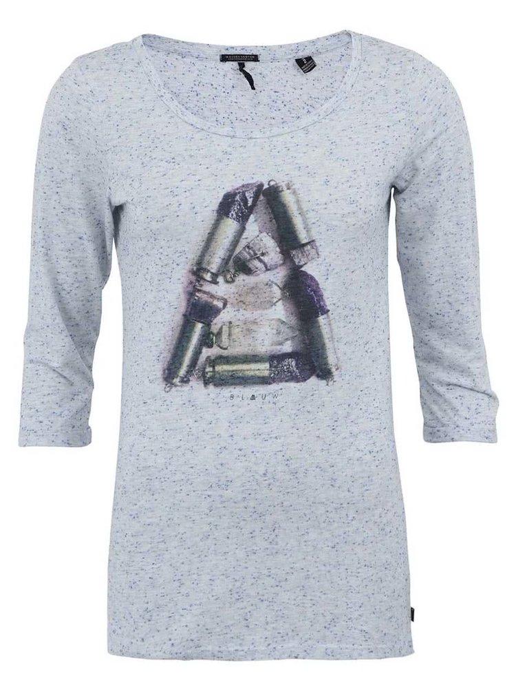 Tricou Maison Scotch de damă gri, cu mâneci trei sferturi