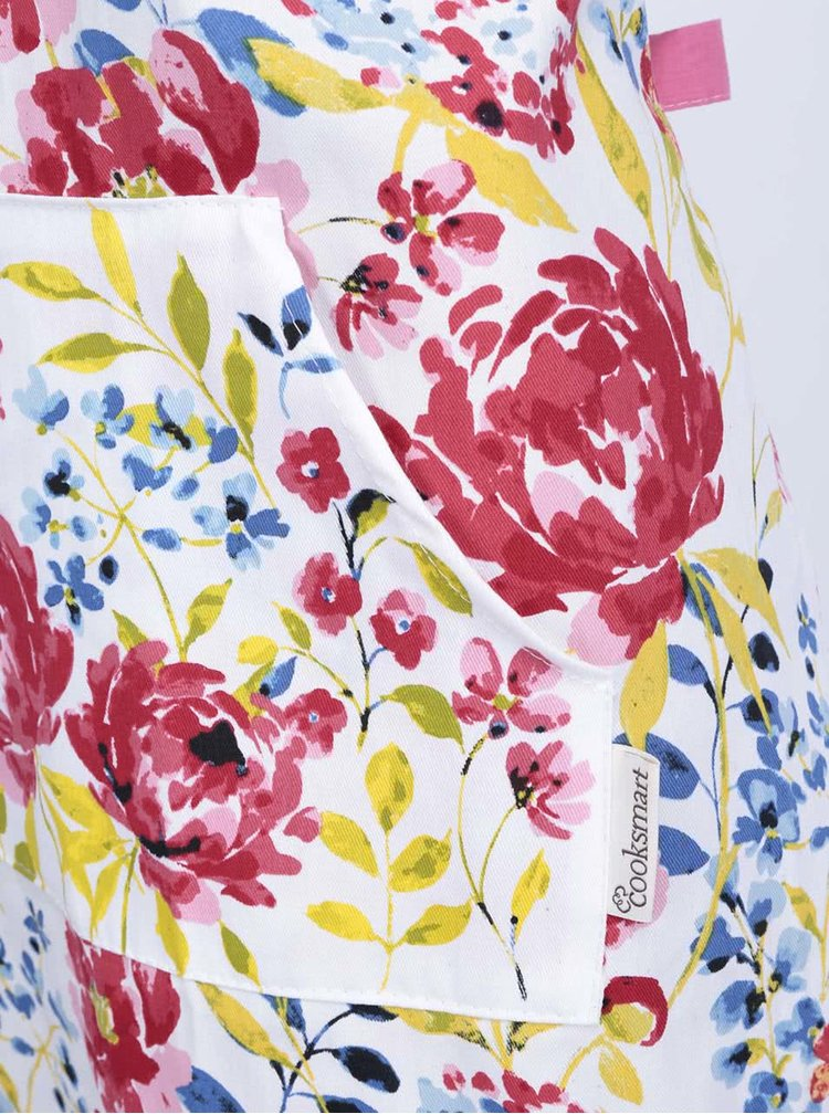 Bílá zástěra s motivem květin Cooksmart Floral Romance