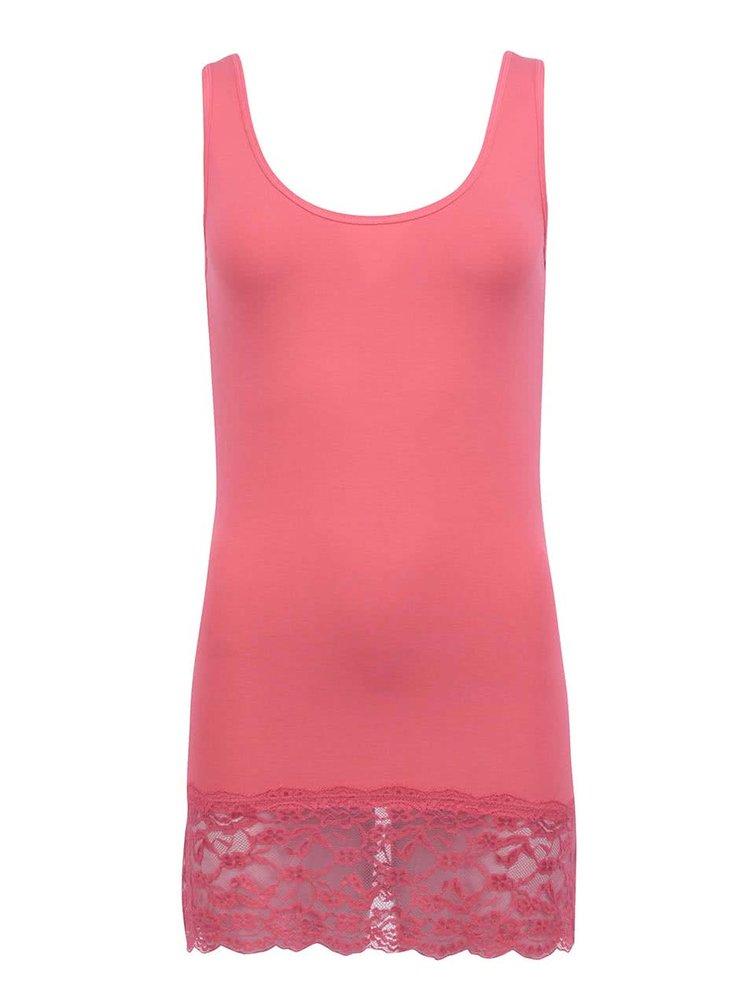 Ružové tielko s čipkou ONLY Long Lace