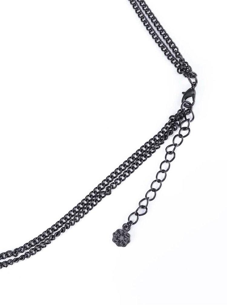 Čierny dvojitý náhrdelník Pieces Cene