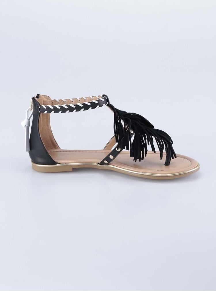 Černé sandály s třásněmi ALDO Cintello