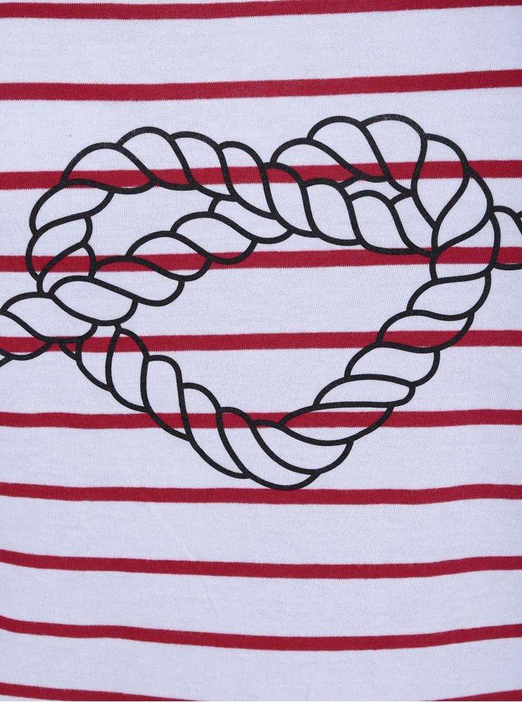 Červeno-bílé pruhované dámské tričko ZOOT Originál Srdce