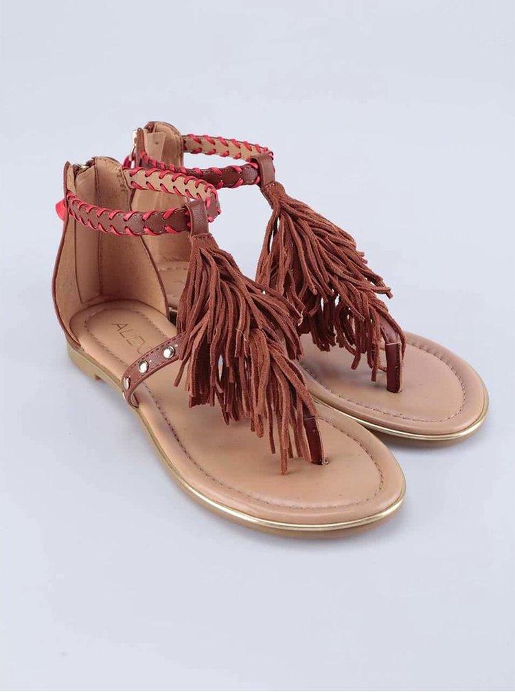 Hnědé sandály s třásněmi ALDO Cintello