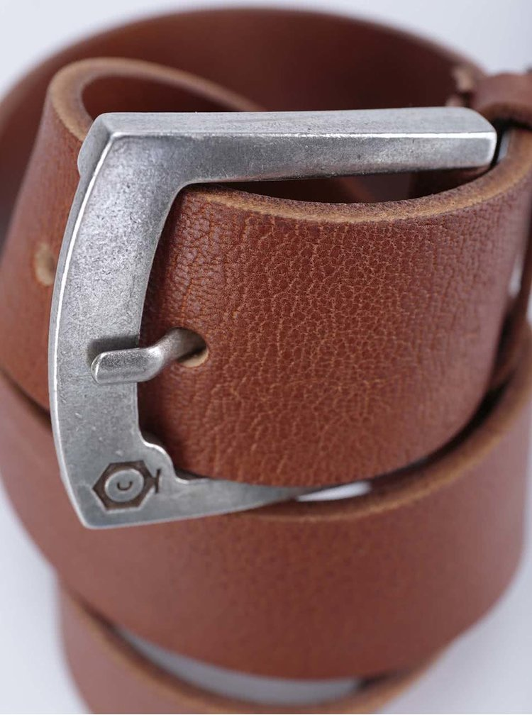 Hnědý kožený pásek Jack & Jones Greb