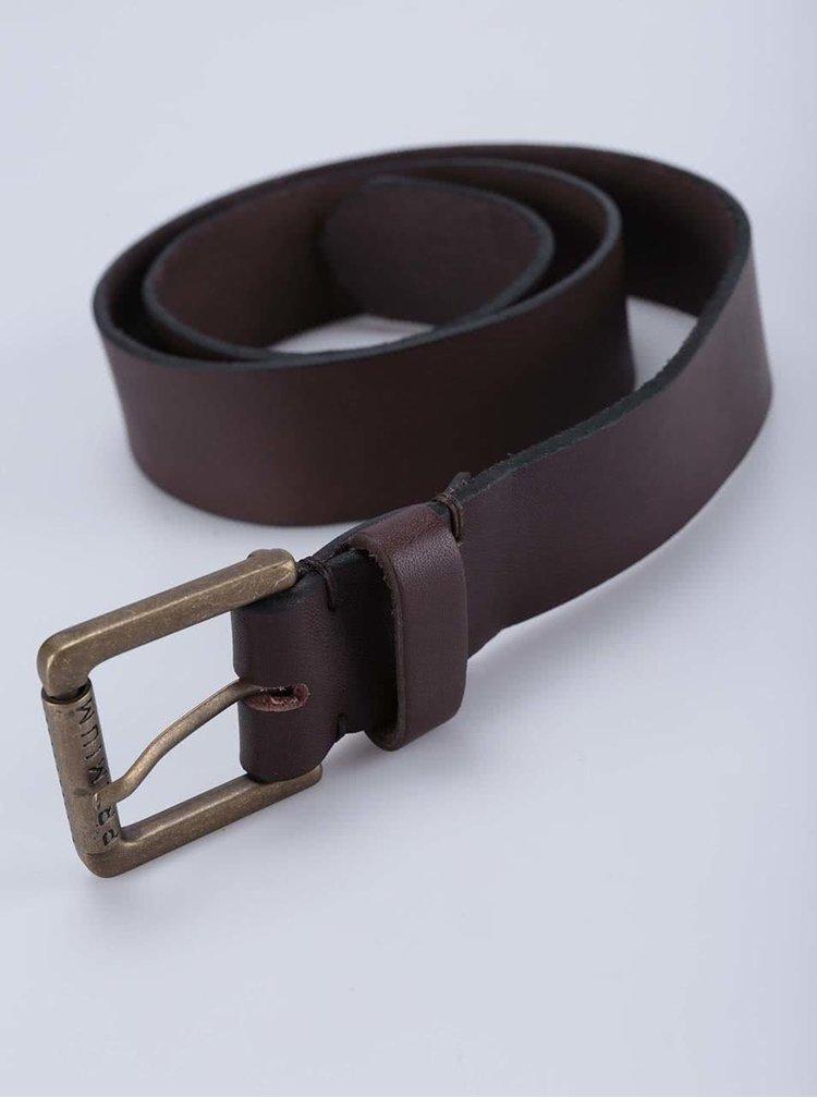 Tmavě hnědý kožený pásek Jack & Jones Rise