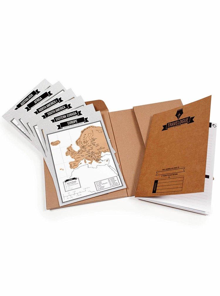 Červený cestovní deník se stíracími mapami Luckies Travelogue