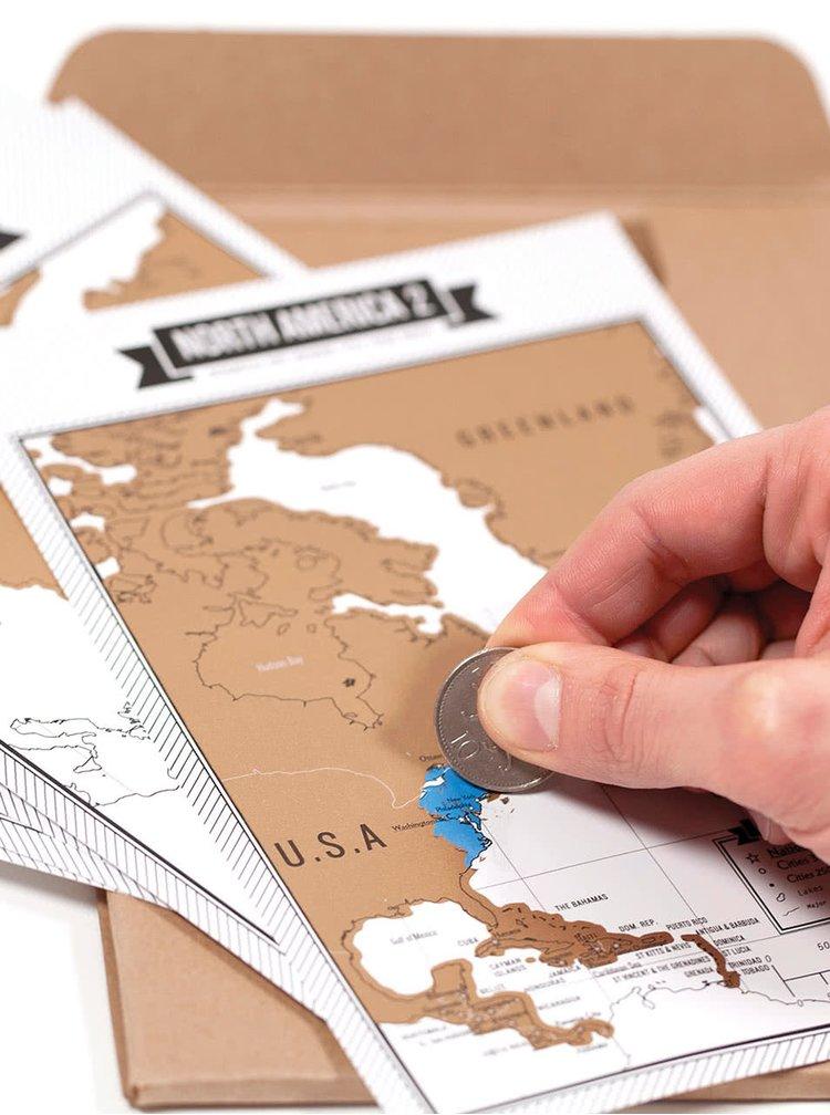 Jurnal de călătorie cu hartă scratch Luckies Travelogue - albastru