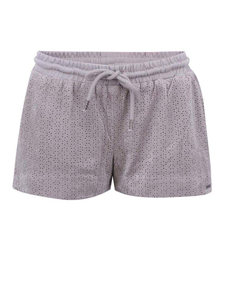 Pantaloni scurți VERO MODA Karole gri, perforați