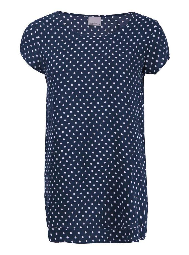 Tmavomodré tričko s bodkami VERO MODA Boca