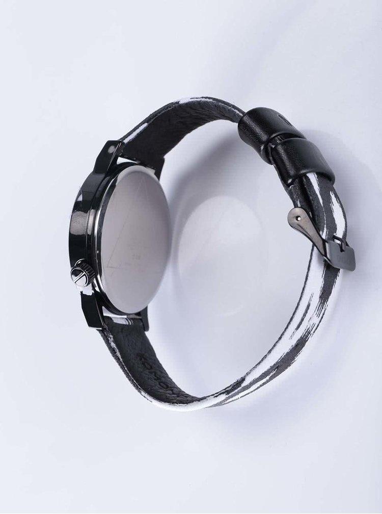Černé pánské hodinky s bílo-černým vzorovaným textilním páskem Komono Winston Blurred Lines