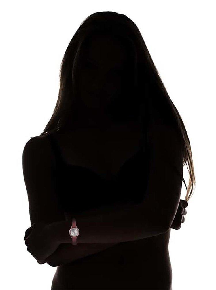 Ceas de dama aramiu, cu curea din piele maro, model Moneypenny de la Komono