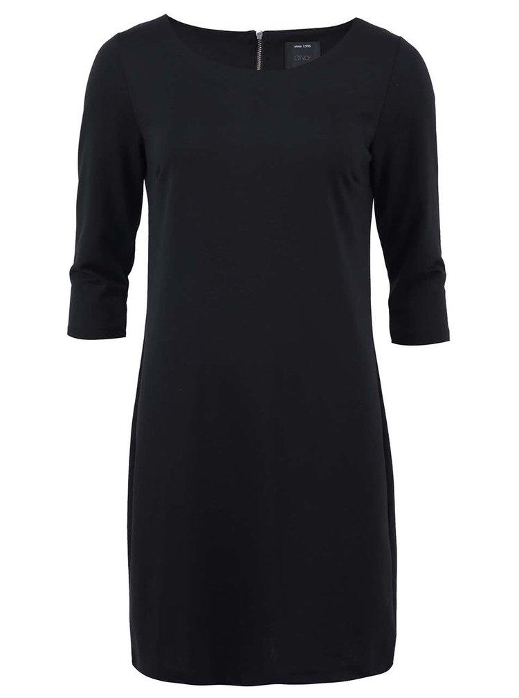 Čierne voľnejšie šaty s 3/4 rukávmi ONLY Emma