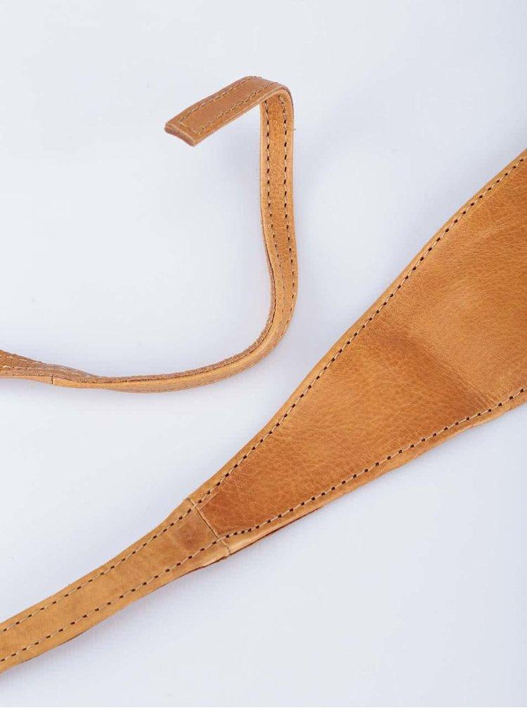 Hnědý kožený pásek Pieces Vibs