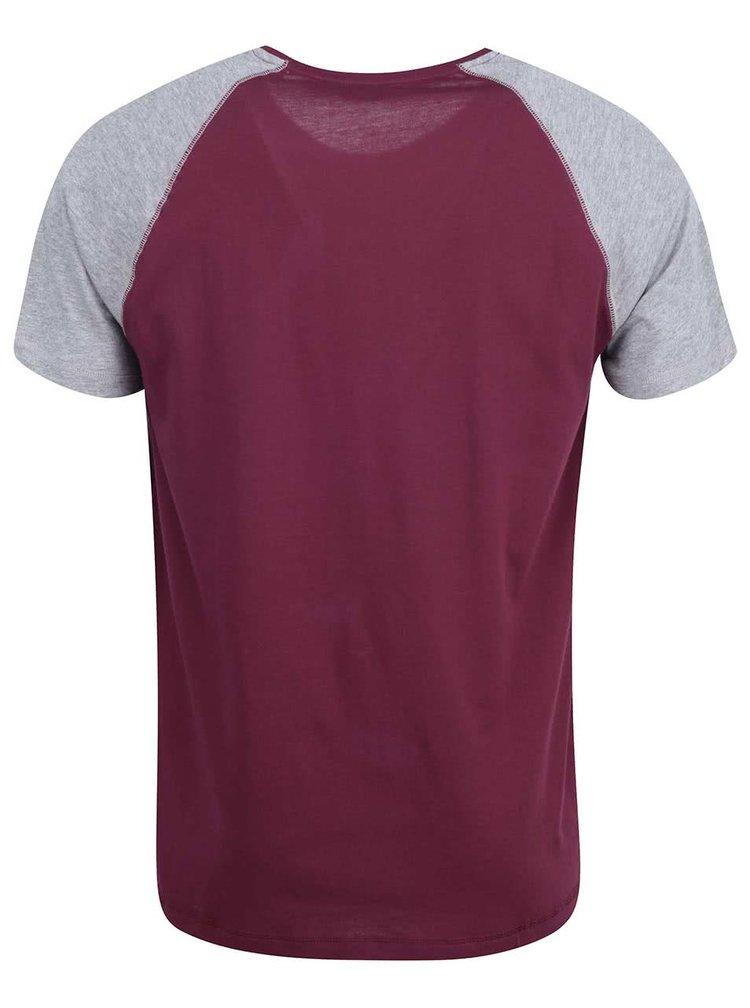 Vínové tričko so sivými rukávmi ONLY & SONS Trisdan
