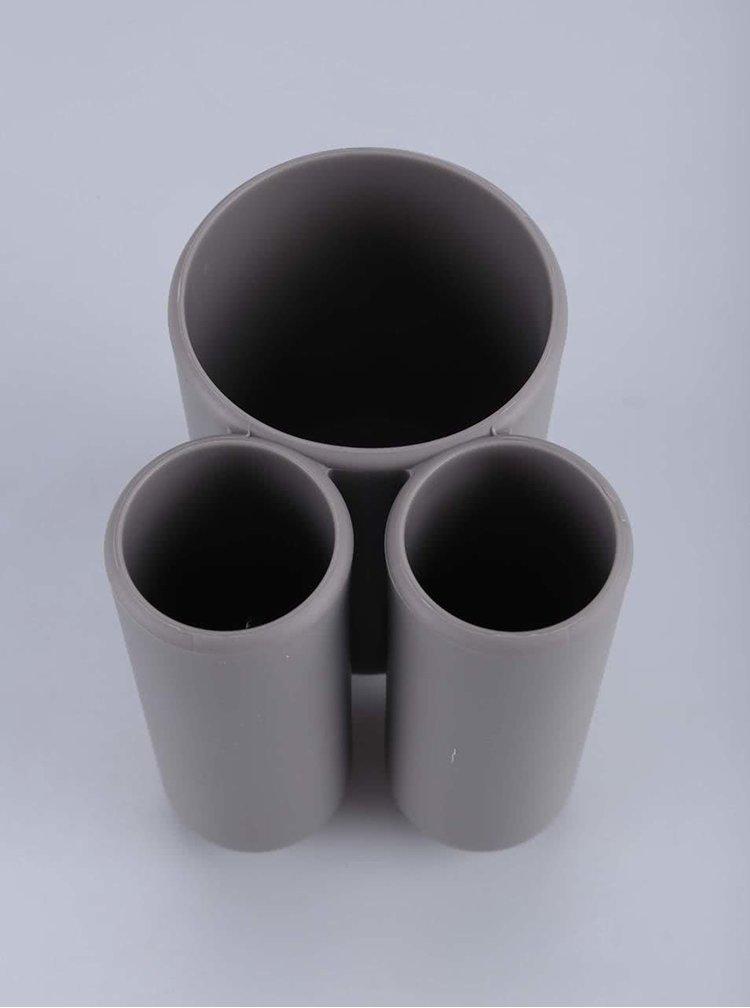 Sivý pohárik na zubné kefky Umbra Touch